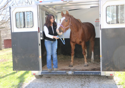 Board Member Tracey Langley always hauls the horses with her trailer